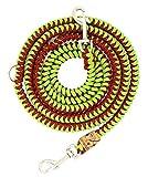 Hundeleine Filu aus Paracord, Führleine, Imperial-Red Diamond + Leaf Green, Handgeflochten, Individuelle Länge, Verstellbarkeit Wählbar, 1 Zentimeter breit