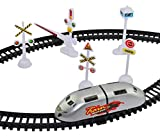 #10: High Speed Metro Train with Flyover & Track, Signal Accessories, Big Size Train Track Set for Kids (SILVER)