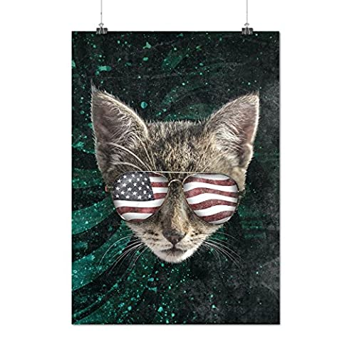 Katze Flagge Brille Kopf USA Mattes/Glänzende Plakat A2 (60cm x 42cm) | Wellcoda
