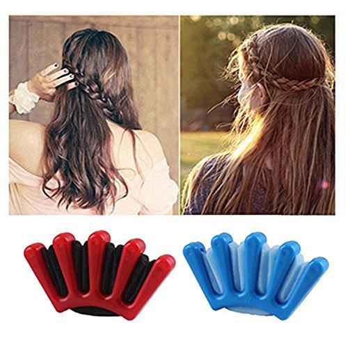 Lalang 1 PC Frauen Haarspange Tool Styling Braid Halter Zubehör Werkzeug Knotenringe Schwamm Kunststoff DIY Haarstyling (Rot)