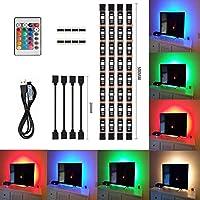Tiras LED de Luz TV, SMD 5050 RGB 20 Modo de Color 4*50cm USB LED luz de tira con DC 5V puerto USB y control remoto de infrarrojos para TV ordenador portátil de fondo Iluminación decorativa