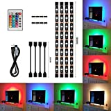 LED TV Hintergrundbeleuchtung, Fernseher Leiste 2 Meter RGB LED Streifen 4 x 50cm USB Betrieben mit IR Wireless Fernbedienung für 40 bis 60 Zoll HTDV Fernseher, Monitor und andere Bildschirme