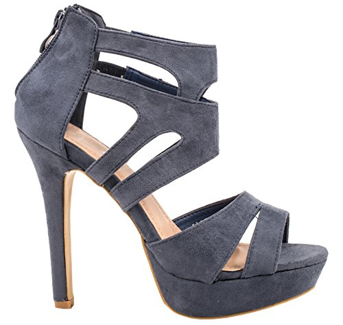 Elara Damen Pumps | Moderne Cut Out Stilettos | Wildlederoptik High Heels | chunkyrayan LL85-Blau-38