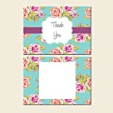 Thank You Cards - Postcard - Blue Vintage Flowers-Pack of 20