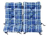 Ambientehome Juego de 2cojines acolchados para silla plegable, cuadrícula azul, ca 90x 40x 8cm, cojín asiento