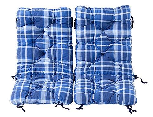 Ambientehome 2er Set Polsterauflage für Klappstuhl, kariert blau, ca 90 x 40 x 8 cm, Kissen Sitzauflage