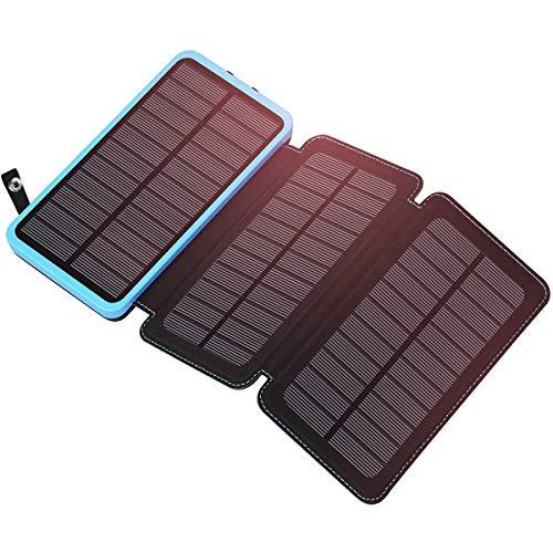 ADDTOP Solar Power Bank 24000mAh, Solar Ladegerät mit 2 USB Ports 2.1A Wasserdichte Externer Akku und LED Leuchten Kompatibel für Das iPhone, iPad, Samsung Galaxy und andere Smartphones/Handys