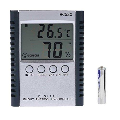Minzhi HC520 Digital In/Out-Thermometer-Hygrometer-Temperatur-Feuchtigkeits-Messinstrument LCD-Wetterstation mit Sensor-Draht