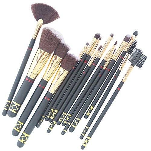 15 pcs Lot de brosse de maquillage Fond de teint poudre Fard à paupières Eyeliner Nez lèvres Blush Brosse