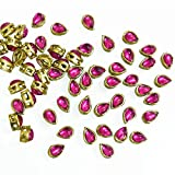 #8: Embroiderymaterial Kundans for Jewellery Making,Craft,Embroidery,Saree,Blouse Work and Dress Making(100 Pieces 5x8MM Tear Drop Shape Magenta)