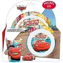 ALMACENESADAN 9963, vajilla 3 Piezas Disney Cars, Compuesto por Plato Llano, Cuenco y