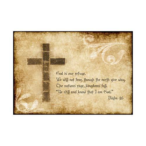 PSALM 46 GOD OUR REFUGE CROSS CHRISTIAN RELIGIOUS QUOTE ART PRINT B12X13832 (Christian Art Cross)