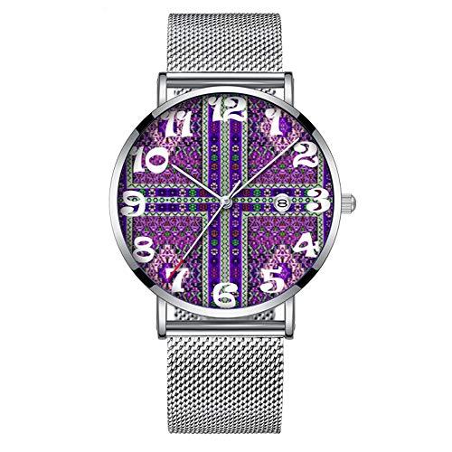 Minimalistische Mode Quarz-Armbanduhr Elite Ultra Thin Wasserdichte Sportuhr mit Datum mit Mesh-Band 068.Purple Brokat Squared Pattern Print - Brokat-armband