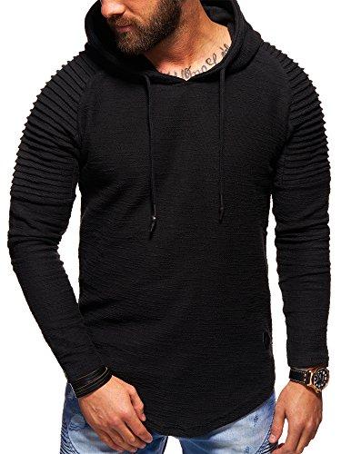 behype. Herren Oversize Kapuzen-Pullover Biker Hoodie Sweatshirt 40-4712 Schwarz M Oversize-kapuze