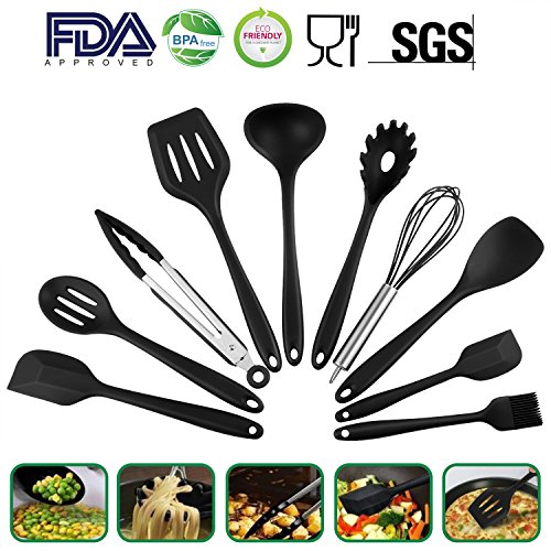 Kitchen Utensils Set - 10 Piece High Quality Silicone Kitchen Cooking Tools - Heat Resistant and Non-stick Cooking Spatulas For Pots & Pans - Serving Tong, Spoon, Spatula Tools, Pasta Server, Ladle, Strainer, Whisk By Phroboxl, Dishwasher Safe, (Black)
