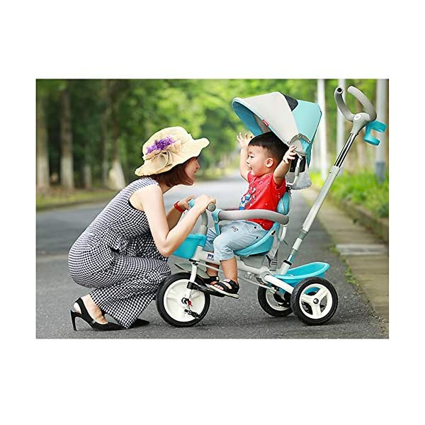 GSDZSY - Foldable Children Tricycle, Pusher Adjusts Height And Control Direction, Seat 360° Rotatable,Rainproof And UV Protection Awning,1-6 Years Old GSDZSY ❀ Material: High carbon steel + ABS + rubber wheel, suitable for children from 6 months to 6 years old, maximum load 30 kg ❀ Features: The push rod can be adjusted in height, the seat can be rotated 360, the backrest can be adjusted, the baby can sit or recline; the adjustable umbrella can be used for different weather conditions ❀ Performance: high carbon steel frame, strong and strong bearing capacity; non-inflatable rubber wheel, suitable for all kinds of road conditions, good shock absorption, seat with breathable fabric, baby ride more comfortable 7