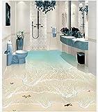 DDBBhome Moderne Custom 3D Boden Wandbild Beach Waves Seelandschaft 3D Bodenbelag Nicht, Slip Wasserdicht Self, Selbstklebende PVC-Tapete, 250X170Cm