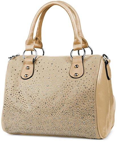 styleBREAKER Bowling Bag Handtasche mit Nieten Strass Applikation im Sternenhimmel Design, Damen 02012021 Khaki
