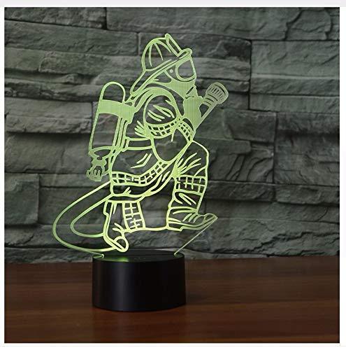 Neuheit 3D Feuerwehrmann Tischlampe Led Usb Touch Button 7 Farbwechsel Feuerwehr Nachtlicht Nacht Dekor Leuchte (Erwachsene Rot Feuerwehrmann Hut)