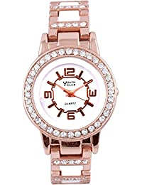 YOUTH CLUB SUPER SHINNY STUDDED ANALOG PINK DIAL WOMEN'S WATCH-YLP-02PK