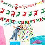 SKY TEARS 3 Sets Merry Christmas Hanging Bunting Banner Garlands Party Ornament DIY Wall Holiday Christmas Decorations Flags
