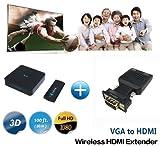 Measy W2H Mini Drahtloser VGA-Video-HDMI-Sender und -Empfänger für Netflix-Streaming-HD-Video mit 1080p und digitales Audio von Laptop, PS4 zu HDTV / Projektor (W2H Mini + VGA)
