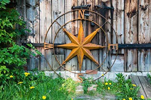 KUHEIGA Wand-Objekt Windrose aus Metall in Rost Ø: 80cm zum Hängen Wandbild Stern
