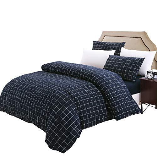 SUSYBAO 3-teiliges Bettbezug-Set aus 100% Gewaschener Baumwolle, Marineblau, kariert, Bettbezug, 2 Kissenbezüge, luxuriös, bequem, atmungsaktiv, strapazierfähig, Hypoallergen King Navy
