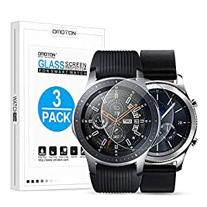 Omoton [3 Packs] Tempered Glass Screen Protector for Samsung Gear S3/Galaxy Watch 46 mm