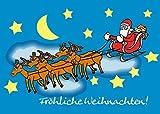 Cartolina d'auguri HupHup, motivo Babbo Natale in volo sulla slitta, animata, a colori, con busta