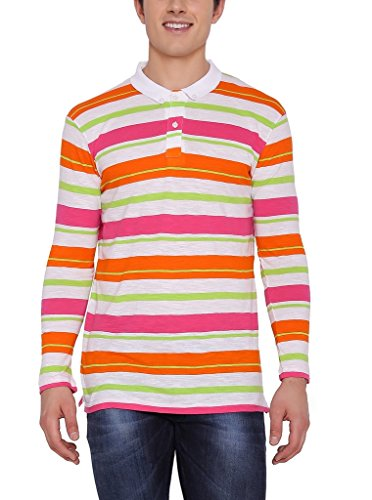 Nick&Jess Mens Multi-Striped Full Sleeve Polo T-Shirt  available at amazon for Rs.199
