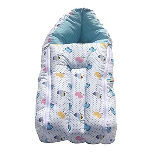 KiddosCare 2 in 1 Baby Bed Cum Bedding Set-Baby Carrier(Blue)Sleeping Bag (0-3 months) Size: 64*41*12 cms (Print n Color May Vary)