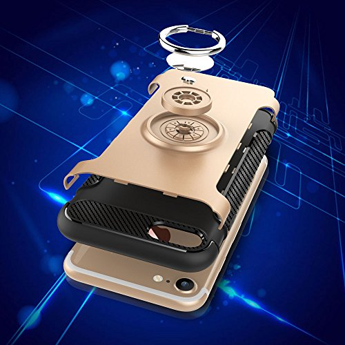 UKDANDANWEI Apple iPhone 8 Hülle mit 360 Grad Full Body Ring Ständer, Hybrid Dual Layer Defender Handyhülle Case [Shock Proof] für Apple iPhone 8 - Schwarz Gold
