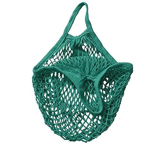 Tonsee Mesh Net Turtle Bag String Shopping Bag Reusable Fruit Storage Handbag Totes (Green)