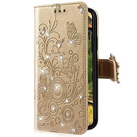 Uposao Kompatibel mit Samsung Galaxy A50 Handyhülle Schmetterling Blumen Muster Diamant Strass Bling Glitzer Leder…