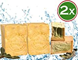 Aleppo - Sapone originale 2 x 220 g, classico: 60% olio d'oliva, 40% olio di alloro e olio d'oliva, prodotto naturale vegano, sapone per capelli, sapone per doccia, sapone da barba