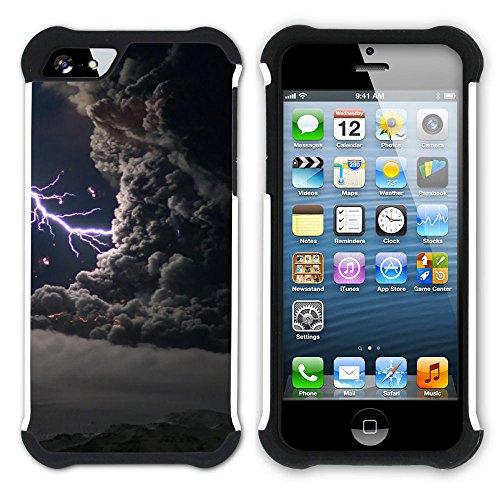 Graphic4You Blitz Blitzstrahl Sturm Hart + Weiche Kratzfeste Hülle Case Schale Tasche Schutzhülle für Apple iPhone SE / 5 / 5S Design #1