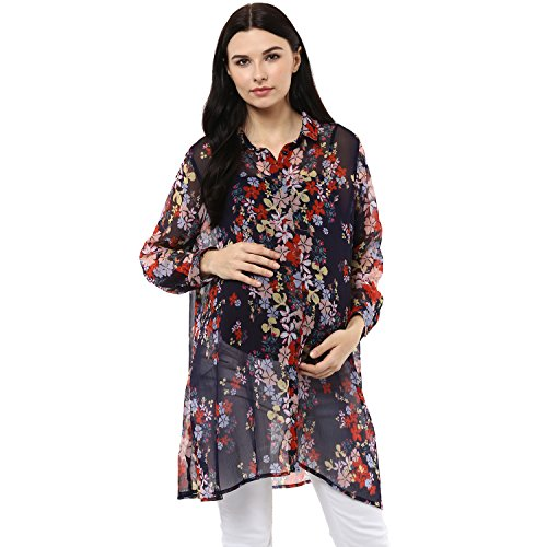 Wobbly Walk Women's Full Sleeves, Floral Print, Maternity Shirt, Blue