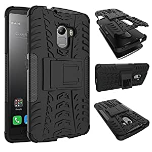 SDO Rugged Dual Layer Case Back Cover For Lenovo K4 Note - Black + Micro Usb Otg Cable + Smiley Led Micro Usb Charging Cable Combo Set