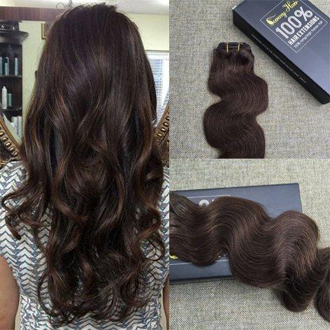 Sunny Extensions Cheveux Clips 20 Pouces 9pcs Tete Complete chatain fonce leger 4# Ondule Remy Cheveux Extension Naturel