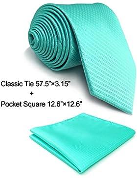 Shlax&Wing Solid Color Aqua Indigo Aquamarine Ties Mens Necktie Fahion Extra Long