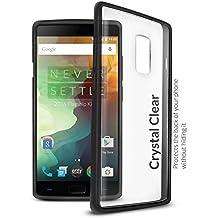 Orzly® FUSION Bumper Case para OnePlus 2 (OnePlus TWO) SmartPhone (2015 Modelo) - Funda Dura Protectora con absorción de impactos NEGRO goma Rim y completo transparente Panel posterior