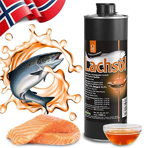 Schecker Lachsöl pur 1 x 1L Fangfrisches norwegisches Lachsöl in Super Premium Qualität Futteröl ohne Konservierungsstoffe