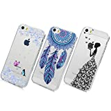 Coque iPhone 5 5S SE - 3 TPU Silicone Souple Clear Cover Créatif Floral et Animal...