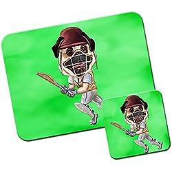 Alfombrillas de ratón y el juego de posavasos de Cricket Pug