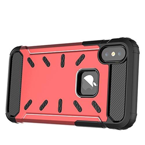 """iPhone X Housse , SHANGRUN Hybrid Defender Aluminium Métal + Fibres de Carbone Resilient Souple TPU Antichoc Case Etui Housse pour iPhone X 5.8"""" Noir Rouge"""
