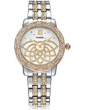 Time100 NEU Damenuhr Edelstahl Strass Armbanduhr für Damen Quarz Silber #W80108L.01A