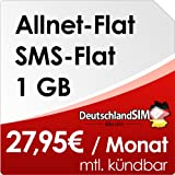 DeutschlandSIM Flat M [Nano - SIM] monatlich kündbar (1GB Daten-Flat, Telefonie-Flat, SMS-Flat, 27,95 Euro/Monat) Vodafone-Netz