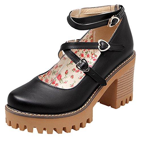 AIYOUMEI Damen knöchelriemchen Blockabsatz Pumps mit Plateau und 8cm Absatz Chunky Heel Bequem Süß Mary Jane Schuhe Schwarz