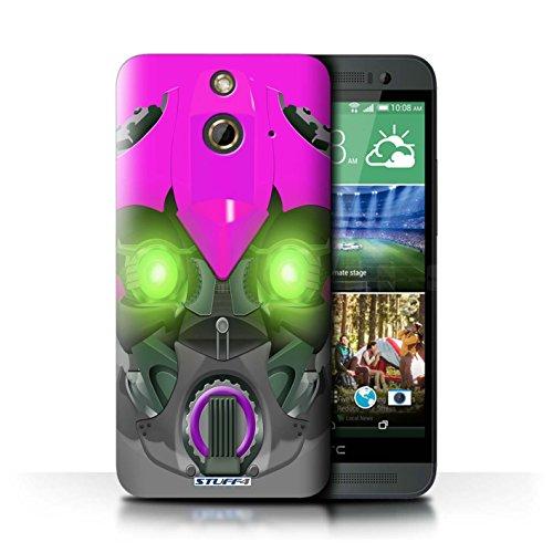 Kobalt® Imprimé Etui / Coque pour HTC One/1 E8 / Mega-Bot Bleu conception / Série Robots Bumble-Bot Violet